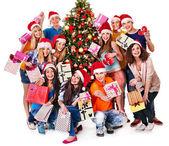 Groep mensen en santa. — Stockfoto
