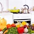 Interior of kitchen with vegetables. — Foto Stock