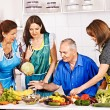 Family  cooking at kitchen. — Foto de Stock