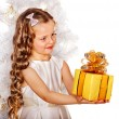 Child with gift box — Stock Photo