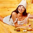 Stock Photo: Girl in sauna.