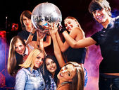 Woman on disco in night club. — Stock Photo