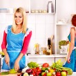 Group women preparing food at kitchen. — Stock Photo