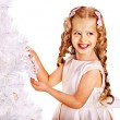 Child decorate white Christmas tree. — Foto Stock