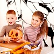 Halloween party with children holding trick or treat. — Stock Photo #33927257