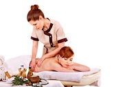 Woman getting spa lastone therapy outdoor. — Stock Photo