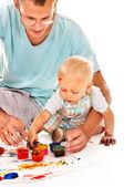 儿童绘画的手指画颜料. — 图库照片
