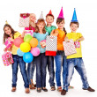 Birthday party group of teen with clown. — Стоковая фотография