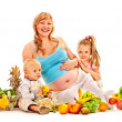 Family pregnant wompreparing food . — Stock Photo #34547567