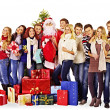 Stock Photo: Group people and Santa.
