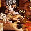 Couple having Ayurvedic spa treatment. — Stock Photo