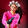 Woman wear hair curlers on head. — Stock Photo