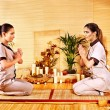 Women at bamboo spa . — Stock Photo #34548135