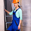 Stock Photo: Womin builder uniform.