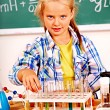 Stock Photo: Child in chemistry class.