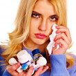 Young woman having flu takes pills. — Stock Photo