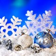 Christmas still life with snowflake and ball. — Stok fotoğraf