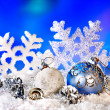 Christmas still life with snowflake and ball. — Stock Photo