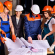 Stock Photo: Business group people in builder helmet .