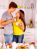 Couple breakfast at kitchen. — Stock Photo