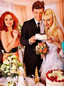 Group people at wedding table. — Stock Photo