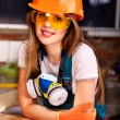 Stock Photo: Womin builder respirator.