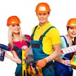 Stock Photo: Group people builder with construction tools.