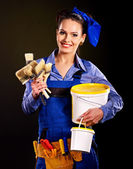 Builder woman witn tools — Stock Photo
