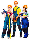 Group people builder with construction tools. — Stock Photo