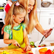 Mother and daughter cooking — Stok fotoğraf