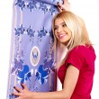 Woman glues wallpaper . — Stock Photo