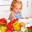 Child cooking at kitchen. — Stock Photo