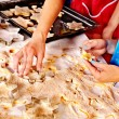 Female hand kneading dough. — Stock Photo