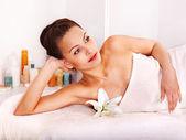 Woman getting facial massage . — Стоковое фото