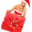 Girl holding Christmas gift box. — Stock Photo