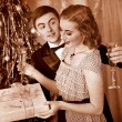 Couple on Christmas party.  Black and white retro. — Stok fotoğraf