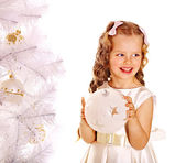 Child decorate white Christmas tree. — Stock Photo
