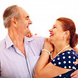 Old man embracing woman — Stock Photo #38778373