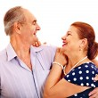 Stock Photo: Old man embracing woman