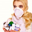 Stock Photo: Young woman's got flu