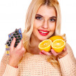 Stock Photo: Womwith tablets and lemon.
