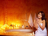 Woman relaxes at home bath. — Stock Photo