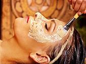 Woman mask at ayurveda spa. — Stock Photo
