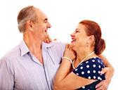 老男人拥抱的女人 — 图库照片