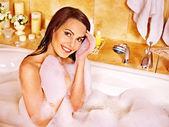 Woman at bubble bath. — Stock Photo