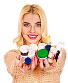 Woman with pills. — Stock Photo