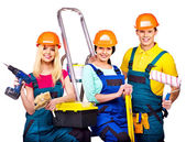 Builders with construction tools. — Stock Photo