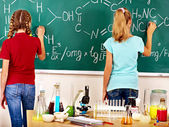 Children in chemistry class. — Stock Photo