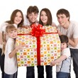 Happy family with gift box. — Stock Photo #3916224