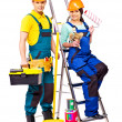 Couple builder with construction tools. — Stock Photo